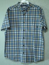 Columbia Men's Short Sleeve Button Up Blue/Yellow/White Checkered Shirt Size L