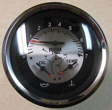 "Teleflex Black Sterling Boat 5"" Tachometer 7000 RPM w/ Oil & Temperature Gauges"