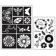 Momenta Art C Mixed Media Adhesive Stencil & Stamp Pack - Flowers & Butterflies