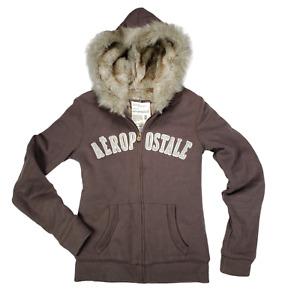 AEROPOSTALE Womens Lined Faux Fur Lined Hoodie Sweatshirt Jacket Brown Size M
