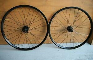 """Retro oldschool Shimano Deore XT black clincher mountainbike wheels wheelset 26"""""""