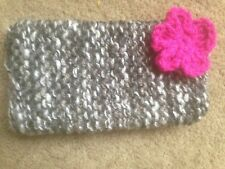 Hand knitted Mobile phone sock/cover/case multi grey /pink flower detail