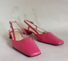 "Hobbs Hot Pink Patent Leather Slingback 1.5"" Block Heel Court Shoes UK 3 EU 36"