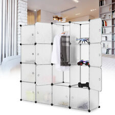 16-Cube DIY Plastic Wardrobe Storage Organizer Cabinet Hanging Rod Toy Shoe Rack