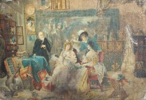 Antique impressionist portrait canvas print signed