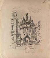 Zeichnung Bordeaux Frankreich Porte Sagale Architektur 1871 signiert 23,5 x 20,5