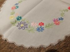 Vintage Cream Oval Table Centre or Dressing Tablemat 38cmx26cm~Hand Embroidered