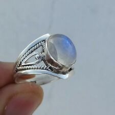 Rainbow Moonstone Ring 925 Solid Sterling Silver Handmade Jewelry Size 4-13 US