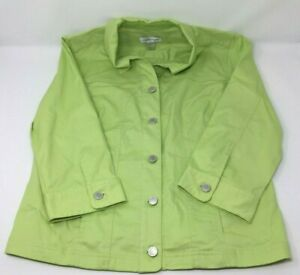 Christopher & Banks Small  3/4 Sleeve Green Heavy Shirt Coat Green Metal Buttons