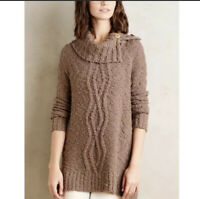 Anthropologie Moth Cowl Neck Cablework Sweater Brown Oversized Womens Size Small