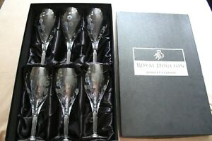 Royal Doulton Large Hand Cut Crystal Glasses X 6 Set Boxed Cup Drink Floral Wine