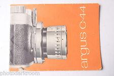 Argus C-44 Camera Instruction Manual Book - English - USED B62
