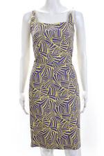Marc Jacobs Womens Silk Sleeveless Knee Length Dress Purple Yellow Size 2