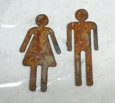 Lot of 2 Man Woman Restroom Male Female 6 inch Shape Rusty Metal Vintage Craft