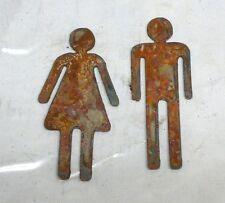 Lot Of 2 Man Woman Restroom Male Female 6 Inch Shape Rusty Metal Vintage Craft