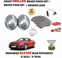 FOR MERCEDES SLK350 2011-> FRONT DRILLED BRAKE DISCS SET + PADS + SENSOR KIT