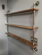 "Industrial Urban Iron Pipe 48"" Three Tier shelf (Pick your own stain)"