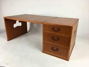 Japanese Wooden Folding Desk Haribako Chest Vtg Tansu 3 Drawer Brown T258