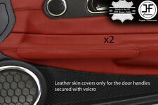 DARK RED REAL LEATHER 2X DOOR HANDLE COVERS FOR CHRYSLER CROSSFIRE 03-08 STYLE 2