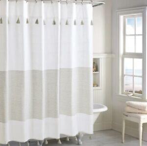 """Peri Home Panama Stripe 72 x 72"""" Inch Shower Curtain in Off White / Tan Stripe"""