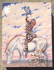 SIGNED BOX 1980 Olivia De Berardinis Zebra Lady Jigsaw Puzzle 550 Pieces 18x24