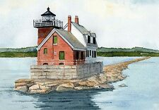 Rockland Breakwater Lighthouse, Midcoast Maine. Rob Thorpe Watercolor Notecards
