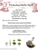 Protection Bottle Spell Wicca Book of Shadows Page on Parchment