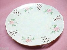 Vintage Schumann Dresden Reticulated Plate w/ Flowers & Carnival Glass Finish