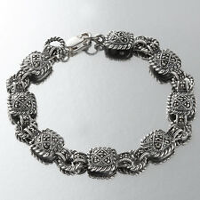 """Marcasite Cable Bracelet Made In Solid 925 Sterling Silver, 7"""" From Torello"""