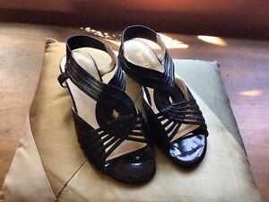 Van Dal Black Patent Leather Sandals, Size 4