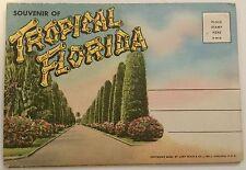 Vintage Souvenir Of Tropical Florida Fold Out Postcard 18 Pictures