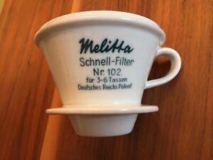 Melitta Schnell - Filter Nr.102 für 3 - bis 6 Tassen Deutsches Reichs Patent
