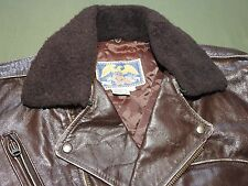 Vtg 1950s Style AVIREX D-POCKET LEATHER MOTORCYCLE JACKET EXC W/ Mouton Collar