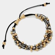 Pull Threaded Bracelet Crystal Beaded Layered Adjustable BLACK GOLD HEMATITE