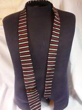 "Ben Sherman Gray Black Red White Striped Tie 59"" 100% Silk New"