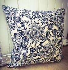 126. Handmade Blue Flowers LINEN Cotton Cushion Cover.Various sizes