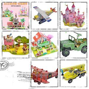 DIY 3D Jigsaw Puzzle  Assembling Toy Castle House Farm Tank Zoo UK Seller