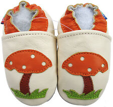 carozoo mushroom cream 4-5y soft sole leather kid shoes slippers