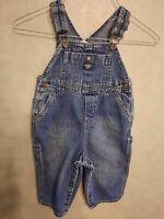 Vintage Baby Osh Kosh B'gosh Denim Bib Overalls Size 18 Months Vestbak Snap Leg