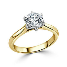 Moissanite 2.00 Ct Diamond Engagement Ring Solid 14kt Gold Round Size 6 7 8 9
