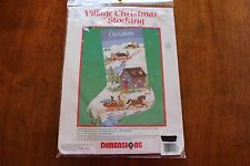 Village Christmas Stocking Kit Dimensions Counted Cross Stitch 1992 #8432