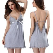 Women-Sexy-Gowns-Dress-Lingerie-Cotton-Babydoll-Sleepwear-Pajamas-G-string-US