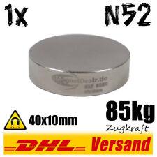Neodym Magnet D40x10mm 85kg Zugkraft N52 magnetisch Hightech Power Scheibe stark