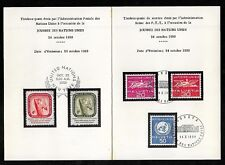 UNITED NATIONS & SWITZERLAND 1959 UN Day Souvenir Card No.3744 first day cancels