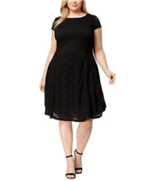 Alfani Plus Size Lace Fit & Flare Dress in Deep Black, Size 16W, Retail $109.50