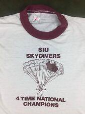 Vintage Mens M 80s Illinois University Skydive National Champs Parachute T-Shirt