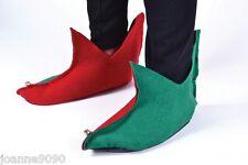 Nuevo Rojo y Verde Navidad pantomima Elf Zapatos Botas Con Campanas Fancy Dress Costume