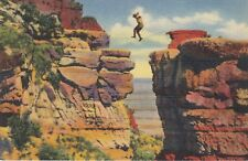 Linen Postcard Posted 1954 A655 Leap for Life Grand Canyon Arizona AZ Curteich