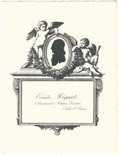 Vintage Bookplate of Emile Miguet of Isle St. Louis, Paris