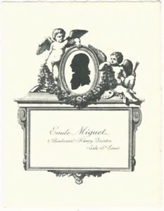 Vintage Bookplate of Emile Miguet of Isle St. Louis, Paris French Book Collector